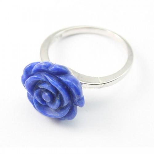 Bague ARG avec Fleur en Lapis-lazuli