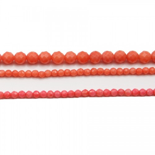 Bambou mer teinte orange Rond Facette 8mm X 4pcs