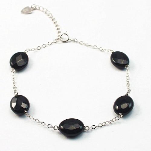 Bracelet chaîne argent 925 Agate noir