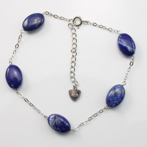 Bracelet chaîne argent 925 lapis-lazuli