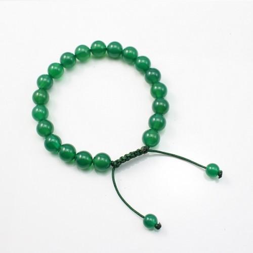 Bracelet agate vert teinté boule rond 8mm