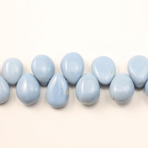 Opale bleu goutte plate 7.5x11mm-8.5x12mm x 20cm
