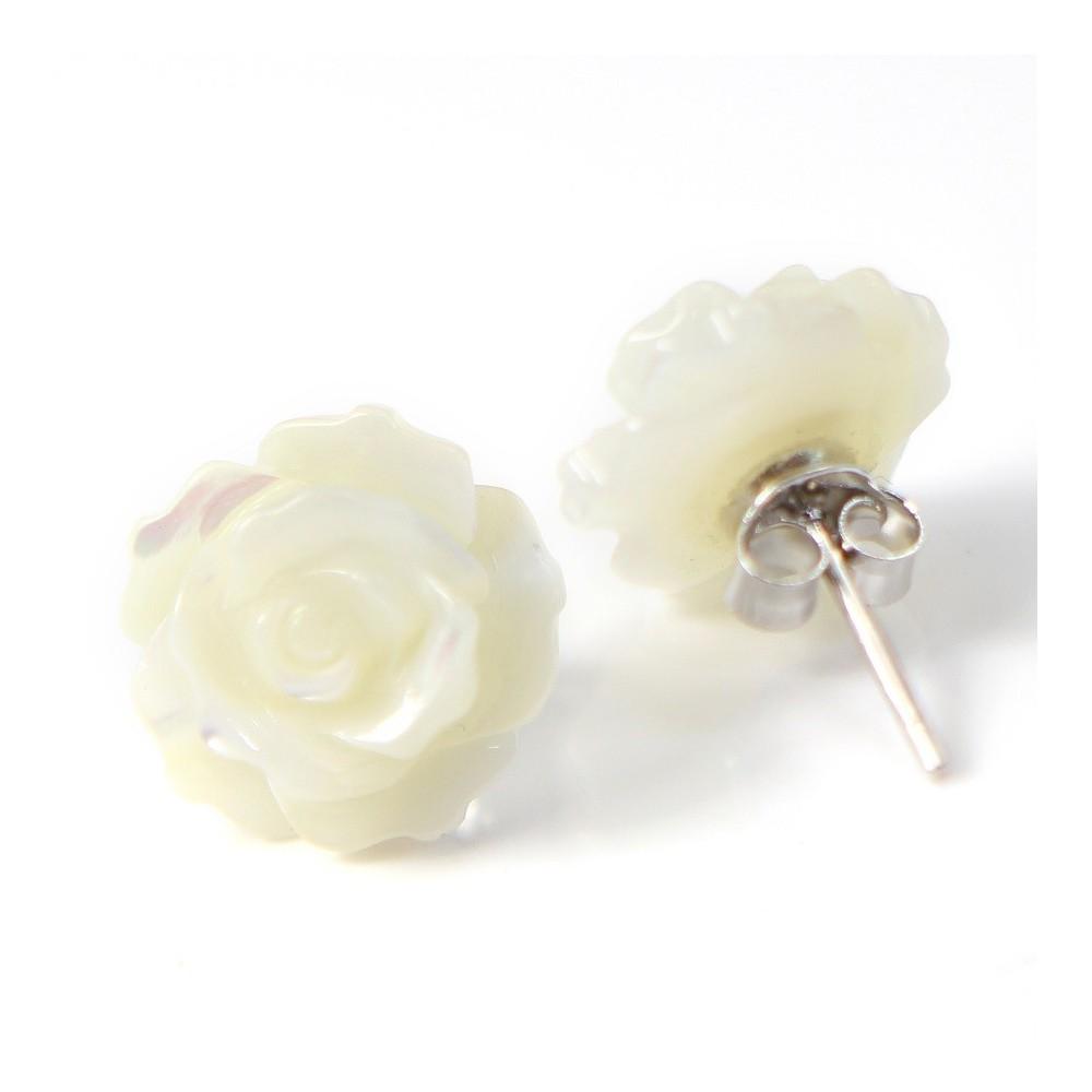 Boucles d oreilles   nacre blanc en fleur   argent 925 12mm x 2 pcs 7d5dd5cff59