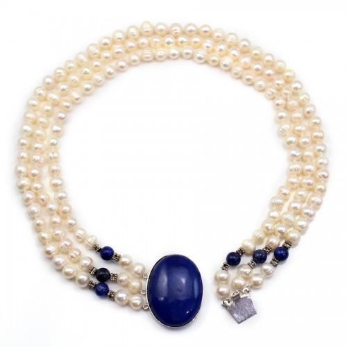 Collier Torsade Perle D'eau Douce & Cabochon Lapis-Lazuli