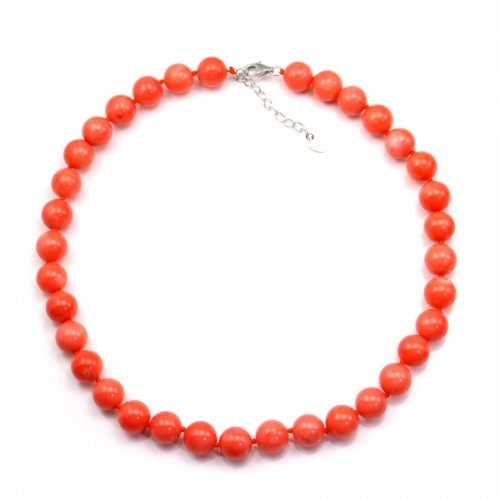 Collier simple Bamboo de mer teinté orange ronde 11mm