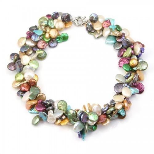 Collier Torsade 3R multicolore perle d'eau douce plat