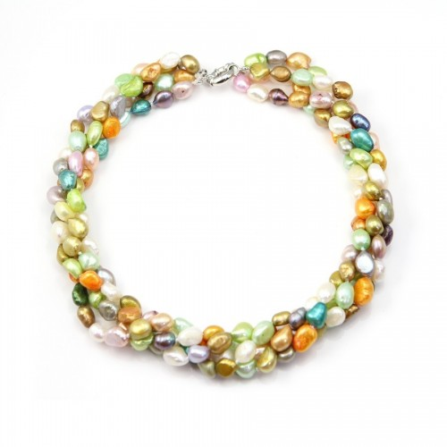 Collier Torsade Perle D'eau Douce Multicolore 4 rangs
