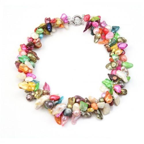 Collier Torsade Perle D'eau Douce Multicolore 3 Range Baroque