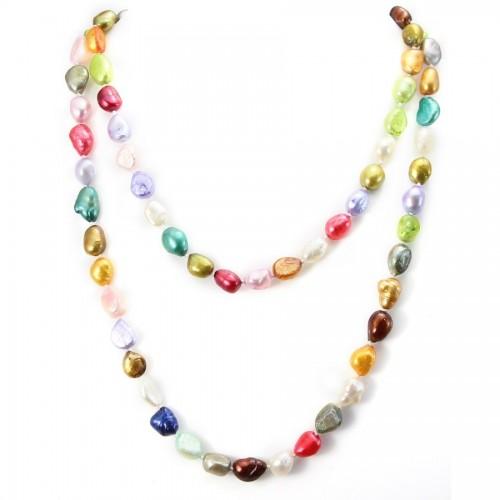 Sautoir perle d'eau douce multicolor 90cm
