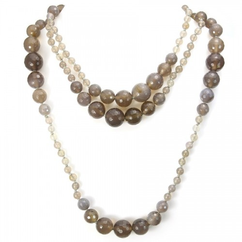 Necklace Gray agate 140cm