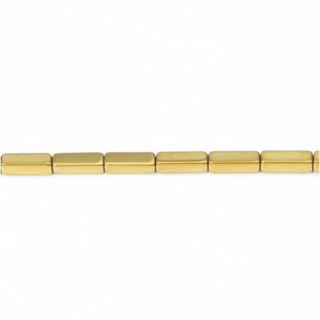 Hématite dorée cube rectangle 3x9mm x 40cm