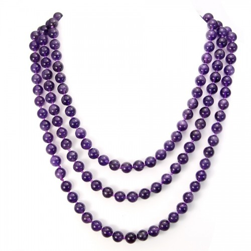 Necklace amethyste round  8mm  140cm