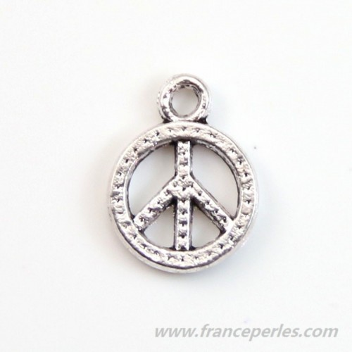 Breloque en peace & love bronze 8.5mm x 4pcs
