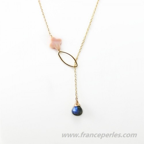 Collier labradorite et nacre trèfle rose chaine gold filled 14 carats