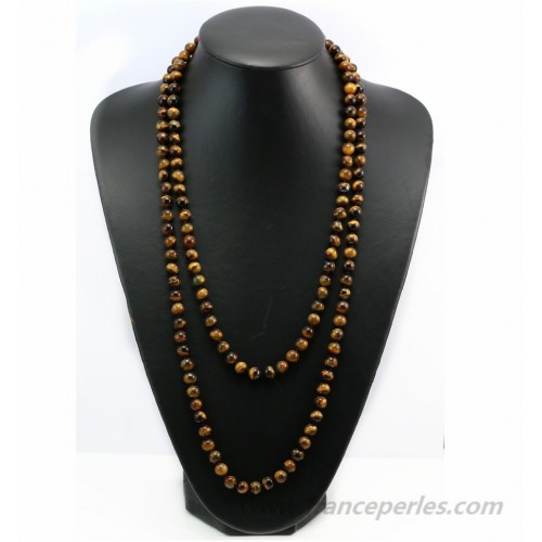 Necklace eye tiger round 8mm  140cm