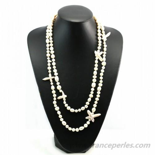 Sautoir perle d'eau douce  blanche baroque et croix 140cm