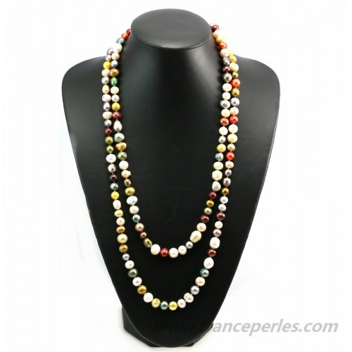 Multicolor freshwater pearl necklace 140cm