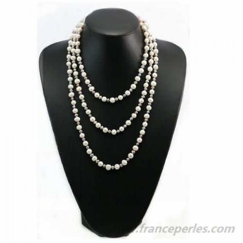 Sautoir perle d'eau douce blanc et gris violacé 160cm