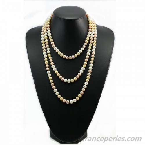 Multicolor gold freshwater pearl necklace 160cm