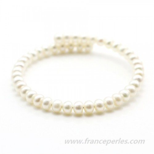 Bracelet  perle d'eau douce blanche