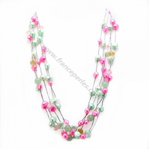 Collier perle d'eau douce multicolore & avanturine 5 rangs