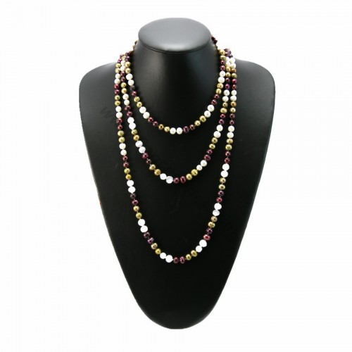 Long necklace pearls of fresh water white Bordeaux khaki 160cm