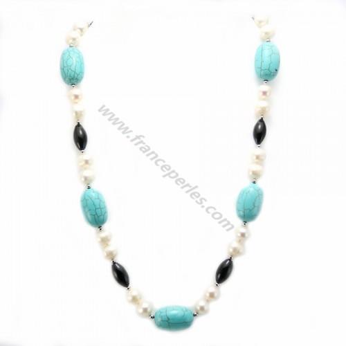 Collier en perles d'eau douce agate noir et turquoise reconstitué