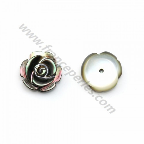 Nacre grise semi-percée en forme de rose 12mm x 2pcs
