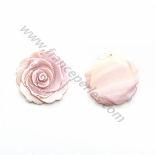 Nacre rose fleur semi-percés 25mm X 1pc
