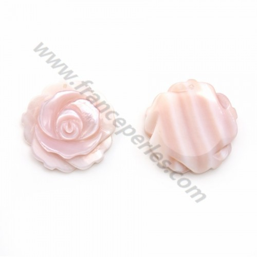 Nacre rose en forme de rose 25mm x 1pc