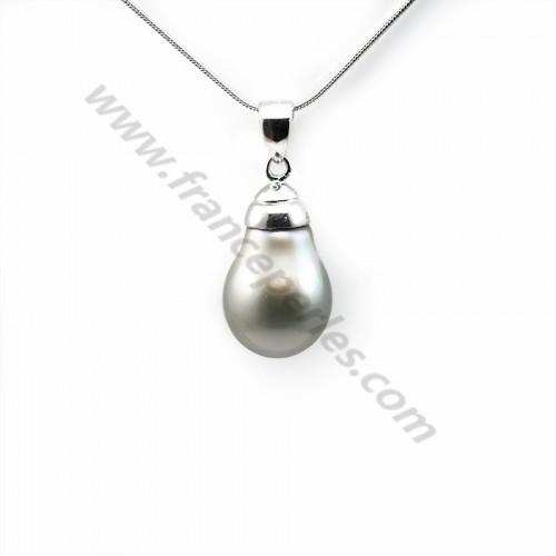 Pendentif Perles Tahiti bélière Argent 925 12x19mm x 1pc