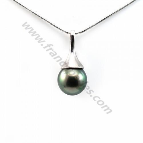 Pendentif Perles Tahiti bélière Argent 925 10x21.9mm x 1pc