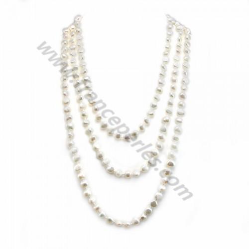 Sautoir  perle d'eau douce blanche  160cm