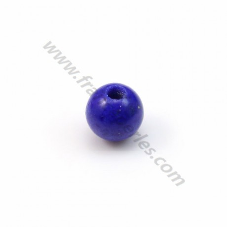 Lapis-Lazuli, semi-percé d'un côté, rond 3mm x 40pcs