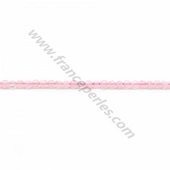 Quartz rose rond facette 2mm x 40cm