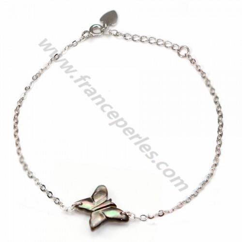 Bracelet chaîne argent 925 papillon en nacre grise