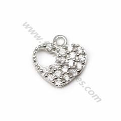 Breloque en argent 925 & zirconium, en forme de coeur, mesurant 8.9*9mm x 1pc