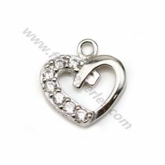 Pendentif, argent 925 rhodié & oxyde de zirconium, en forme de coeur, mesurant 8.5*9.5mm x 1pc