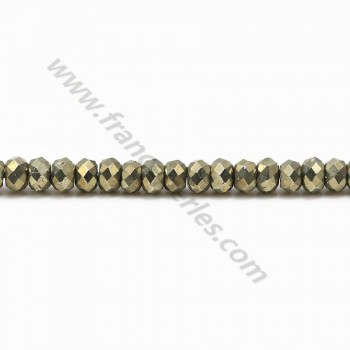 Pyrite rondelle facette 2.5*4mm x 40cm