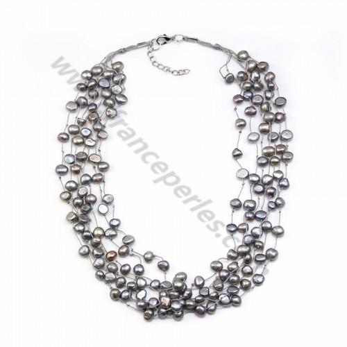 Sautoir perle d'eau douce grise 7 rangs x 1pc
