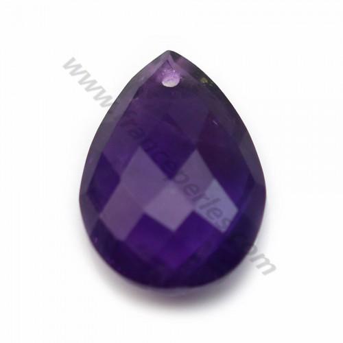 Améthyste violette, en forme de goutte facetté, 13 * 18mm x 1pc