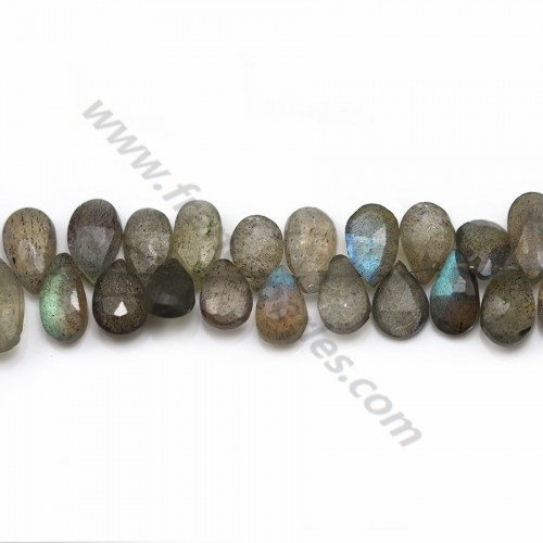 Gray Labradorite, in the shape of a flat faceted drop x 40cm