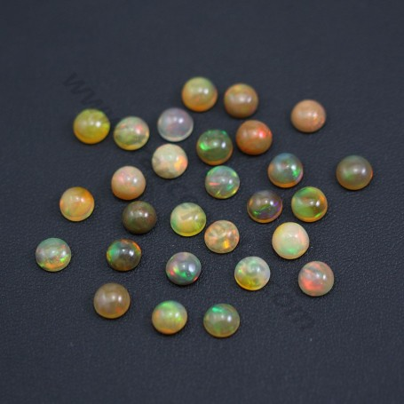 Cabochon d'opale ethiopienne, multicolore, de forme ronde, 6mm x 1pc