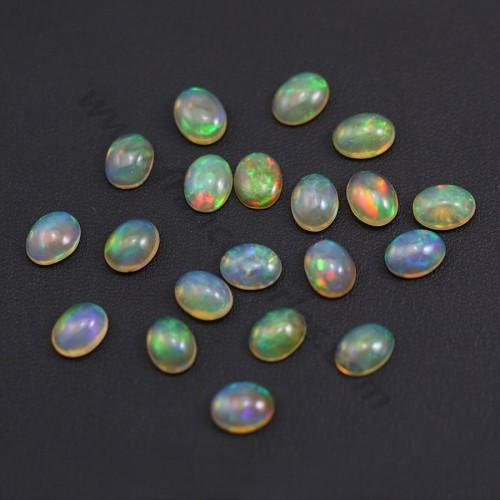 Cabochon d'opale ethiopienne, multicolore, de forme ovale, 7 * 9mm x 1pc