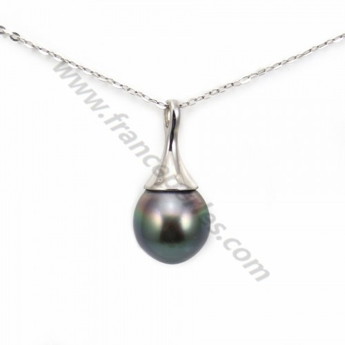 Pendentif Perles Tahiti bélière Argent 925 10.3x23mm x 1pc