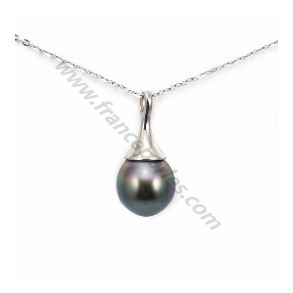 Collier Perles De Culture De Tahiti 9 10mm Beliere Argent 925 X 1pc