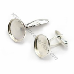 Cufflink, in 925 silver for 16mm round cabochon, 25 * 17mm x 2pcs