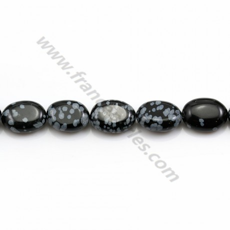 Obsidienne flocon de neige, de forme ovale, 10 * 14mm x 4pcs