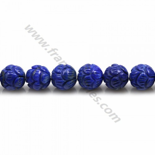 Lapis lazuli blue, in round carved shaped, 8mm x 39cm