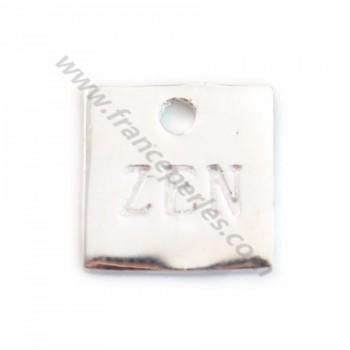 """Breloque carrée gravée """"ZEN"""" en argent 925 10mm x 1pc"""